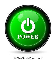 potencia, icono, botón