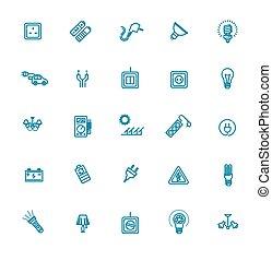potencia, iconos, electricidad, energy., vector