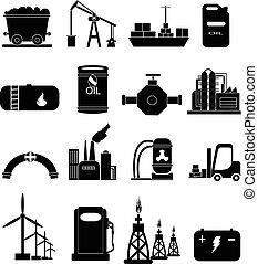 potencia, industria de la energía, iconos, conjunto