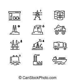 potencia, industria, generaciones, vector, línea, iconos