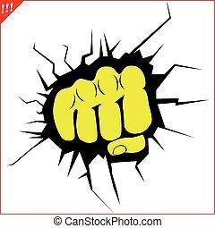 potencia, karate, puño, logotipo, fuerte, mma