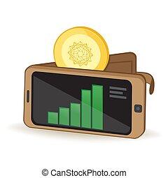 potencia, libro mayor, cryptocurrency, billetera, digital, ...