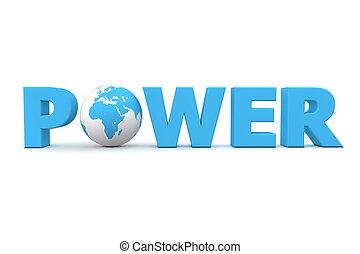 potencia, mundo, azul