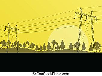 potencia, naturaleza, electricidad, alto, campo, vector, ...