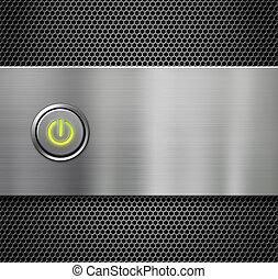 potencia, o, inicio botón, en, plato metal