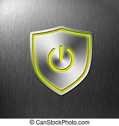 potencia, protector, botón, en, aluminio, plano de fondo