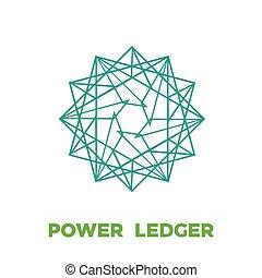 potencia, señal, libro mayor, aislado, cryptocurrency, ...
