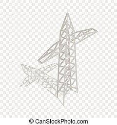 potencia, torre transmisión, isométrico, icono