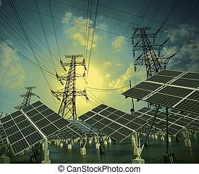 potencia, transmisión, energía, solar, torre, paneles