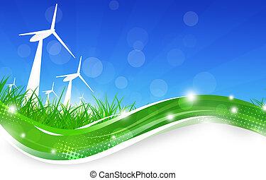 potencia, verde, turbinas, viento, ilustración