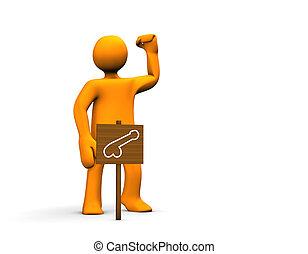 Orange potent cartoon isolated on white background.