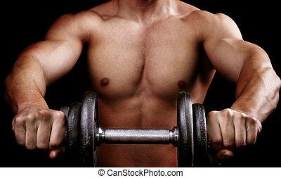 potente, muscolare, uomo, presa a terra, allenamento, peso
