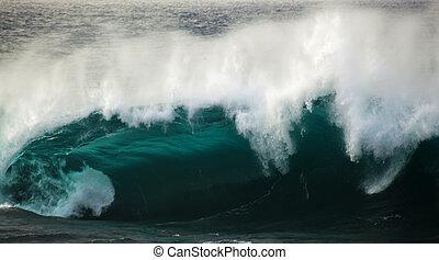 potente, onda oceano, rottura