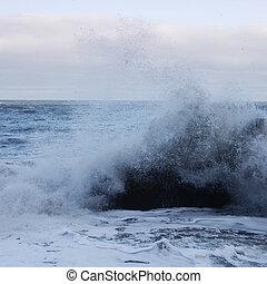 potente, onde, colpo, surf, pietre