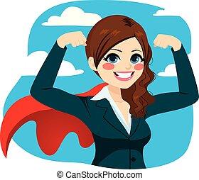 potente, super, donna d'affari