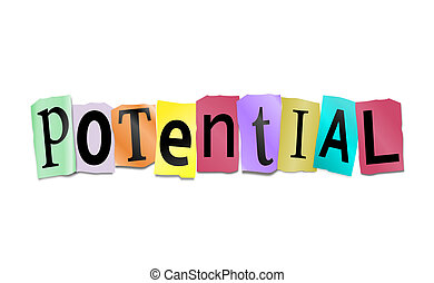 Illustration depicting cutout printed letters arranged to form the word potential.