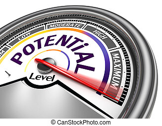 potential level conceptual meter, isolated on white ...