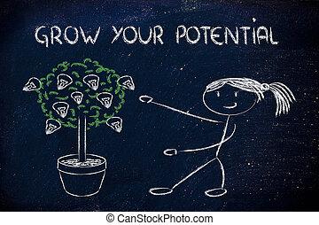 potentiel, personne, talent, idées, cultiver