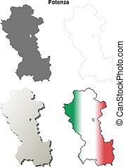 Potenza blank detailed outline map set - Potenza province...