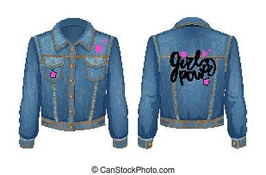 potere, denim, illustrazione, pezza, giacca, vettore, ragazza