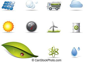 potere, e, energia rinnovabile, icone