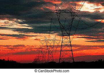 potere, elettricità, comunicazione, linee, tramonto, o, alba