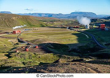 potere, iceland., stazione, geotermico