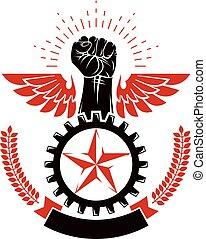 potere, illustrazione, alato, arrabbiato, stretto, emblem., idea., vettore, anticonformista, pugno, concettuale, autorità, uomo