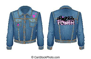 potere, punk, jeans denim, illustrazione, giacca, vettore