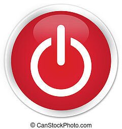 potere, spento, icona, bottone rosso