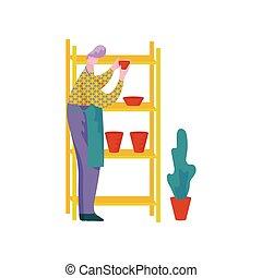 poterie, étagères, vaisselle, fonctionnement, métier, placer...