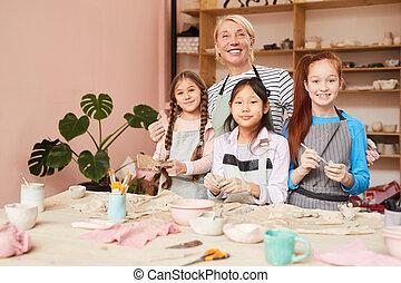 poterie, atelier, pour, enfants