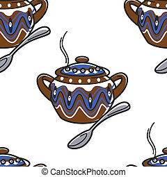 poterie, bulgare, modèle, ornement, seamless, cuillère, ...