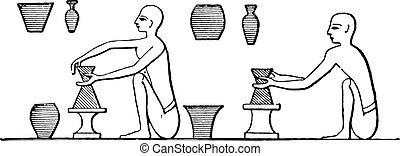 poterie, engraving., fabrication, vendange