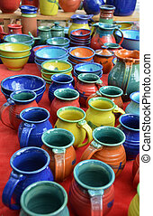 poterie, fait main, coloré