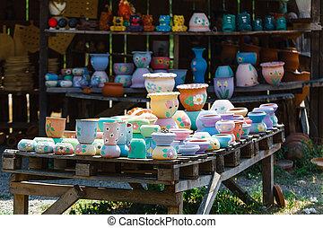 poterie, géorgie, tbilisi, fait main, traditionnel, rue, exposer, marché