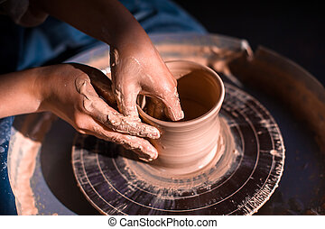 poterie, girl, fait main, close-up., clay., products., ...