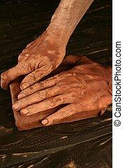 poterie, mains, travail, potier, craftmanship, argile