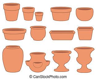 poterie, pots fleurs