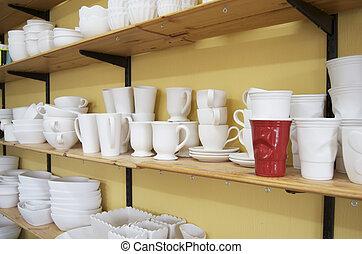 poterie, solo, tasse, inachevé, &, rouges