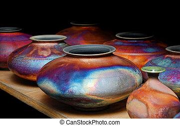 poterie, vitré, fait main, iridescent