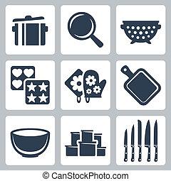 potholder, recipientes, assando, molde, ícones, isolado, ...