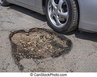 Car wheel avoiding big pothole as a metaphor for risk avoidance