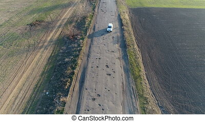 Pothole road. Aerial survey - Old road with potholes for...