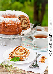 Potica, Slovenian Walnut Roll, copy space for your text