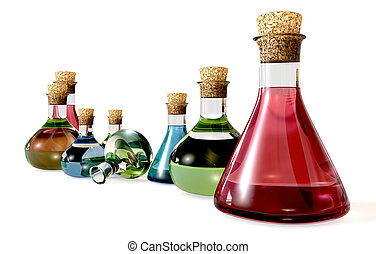 A collection of eight glass potion bottles with liquid in them in red green and blue on an isolated background
