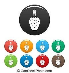 Potion bottle icons set color