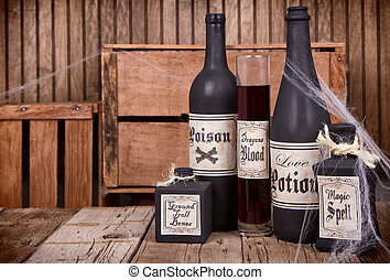 Potion bottles on wooden crates - Potion bottles on rustic...