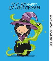 potion., card., strega, mescolare, felice, halloween