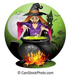 potion, czarownica, przygotowując